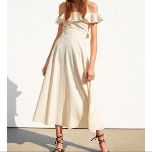 Zara cotton midi dress embroidery Off shoulder